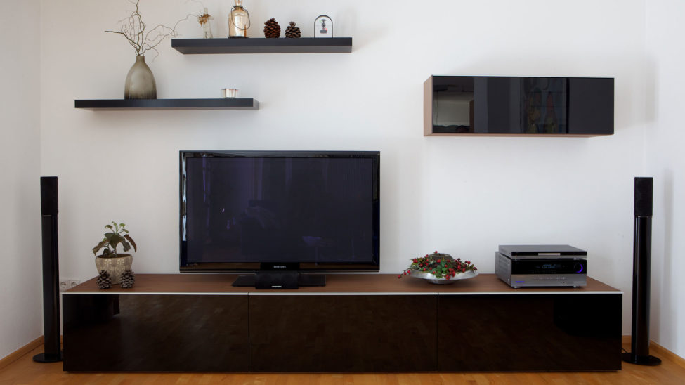 Wohnzimmer   TV Moebel Schwarz Glänzend Mit Wandregalen